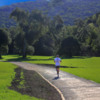 beautiful landscape and jogger: Jogging in the landscape