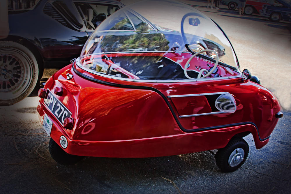 a little tiny red car