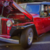 old red and black car