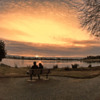 sunset at the lake with fisheye lens
