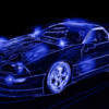 drawing effect car photo with neon highlights