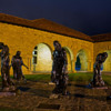 in the court yard at night-
