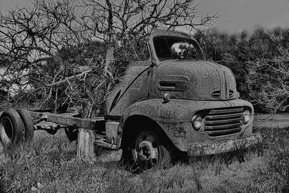 old truck in th tree