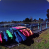colorful boat's in fisheye.