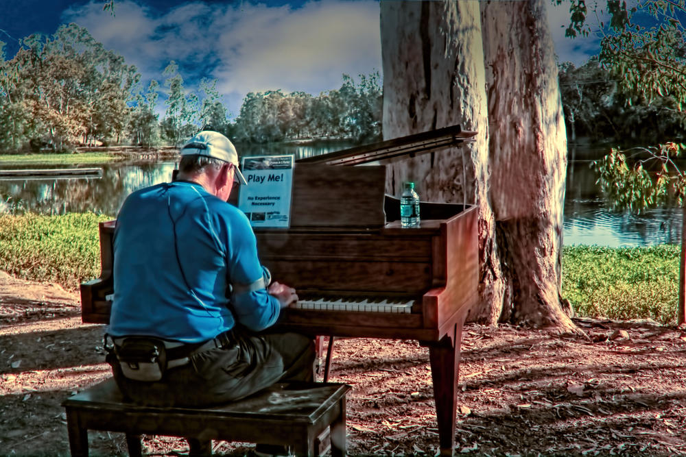 Piano playing in the park